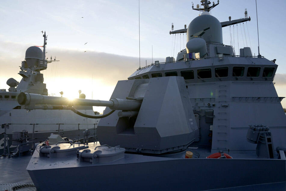 An automatic naval gun mounted aboard a Russian warship, part of the Russian Baltic Fleet base in Baltiysk