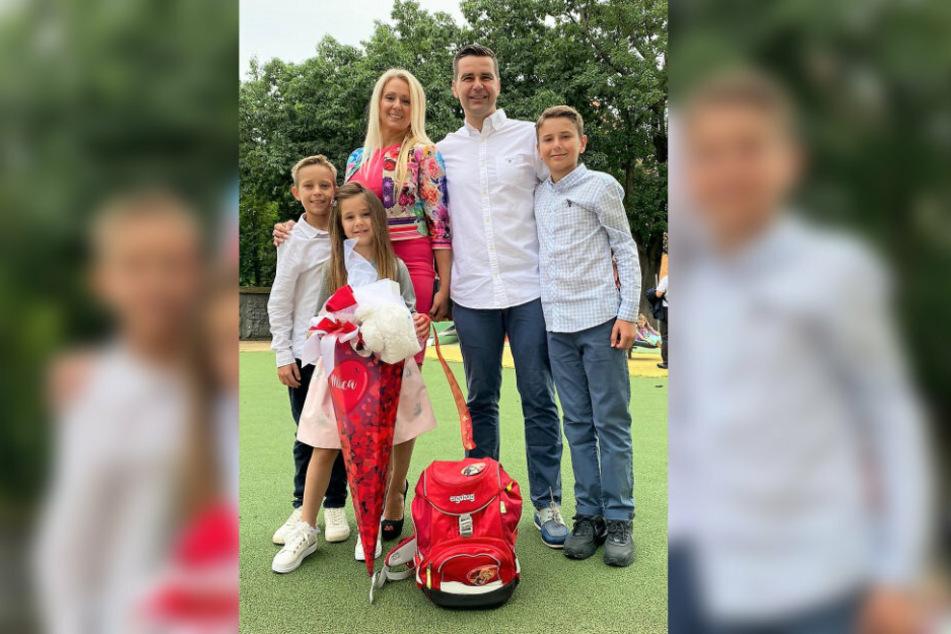 Dusan Milicevic mit Ehefrau Ivana, den Söhnen Milan (links) und Djordji (rechts) sowie Töchterchen Milica bei deren Schuleinführung im September.