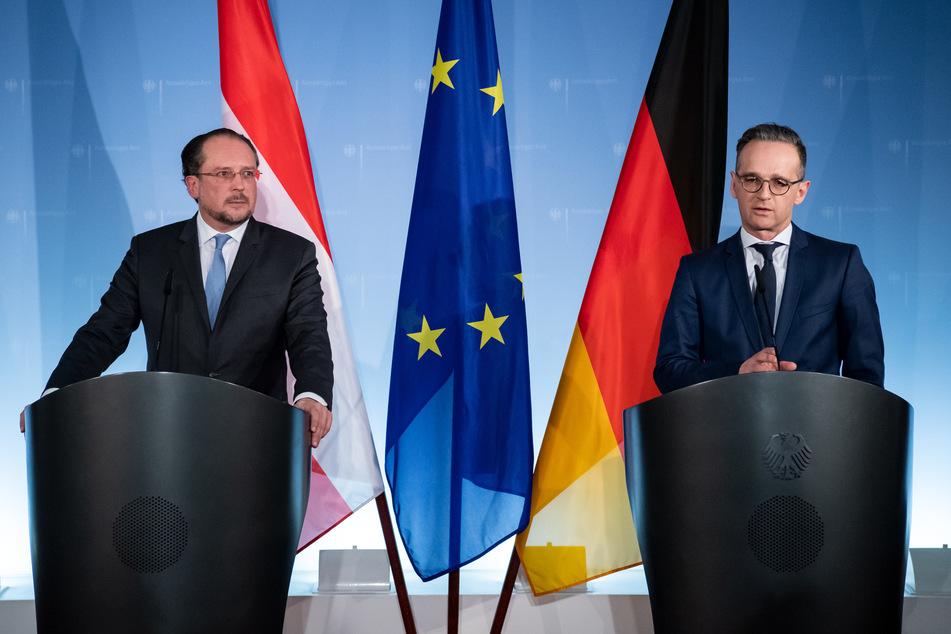 Heiko Maas (r, SPD), Außenminister, und Alexander Schallenberg, Außenminister von Österreich.