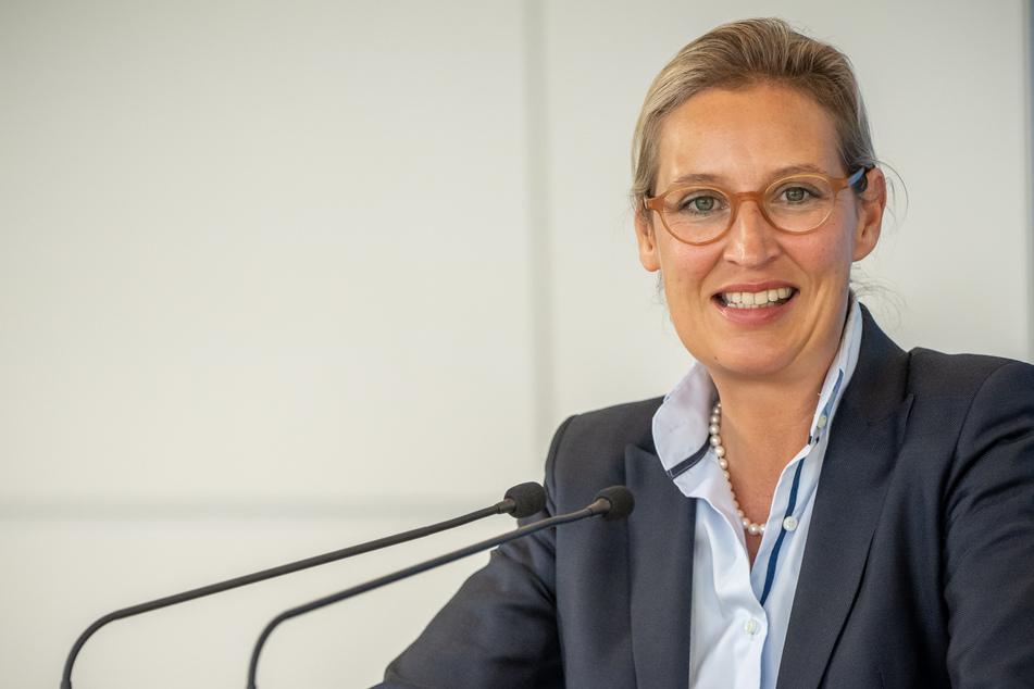 Alice Weidel (42), Fraktionsvorsitzende der AfD im Bundestag, spricht bei einem Pressestatement vor Beginn der Sitzung der AfD Bundestagsfraktion.