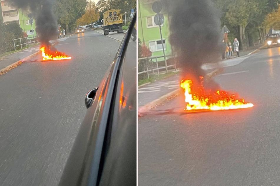 Straße in Flammen! Zeugin beobachtet Pyro-Pärchen auf frischer Tat