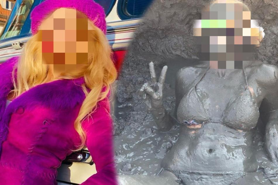 Schmutziges Mädchen: Welche TV-Blondine suhlt sich denn hier halbnackt im Dreck?