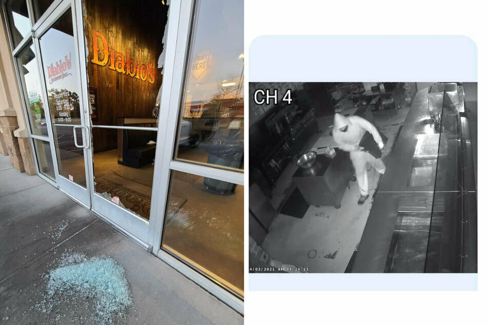 Diablo's Southwest Grill was damaged during a burglary. The surveillance camera filmed the perpetrator (collage).