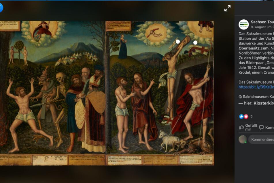 Um dieses Gemäde geht es. Die Kreuzigungsszene, gemalt vom Cranach-Schüler Wolfgang Krodel.