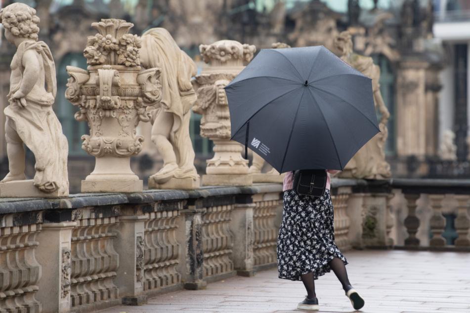 Mit Regenschirm ist eine junge Frau im Zwinger unterwegs.