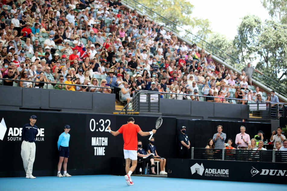 Top tennis stars competed in an invitational tournament in front of nearly 4,000 spectators in an almost-packed stadium in Adelaide, Australia.