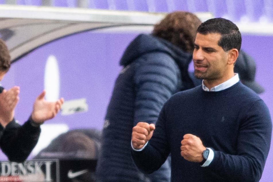 Lilien-Coach Dimitrios Grammozis freut sich über den Auswärtssieg in Aue am vergangenen Dienstagabend.