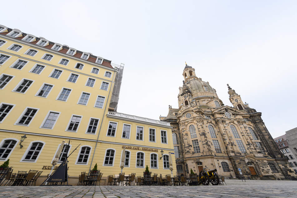 Der Neumarkt an der Frauenkirche.