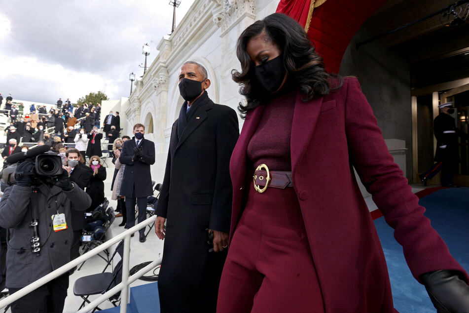 Michelle Obama turned heads with her stunning outfit when she arrived at the inauguration with her husband Barack.