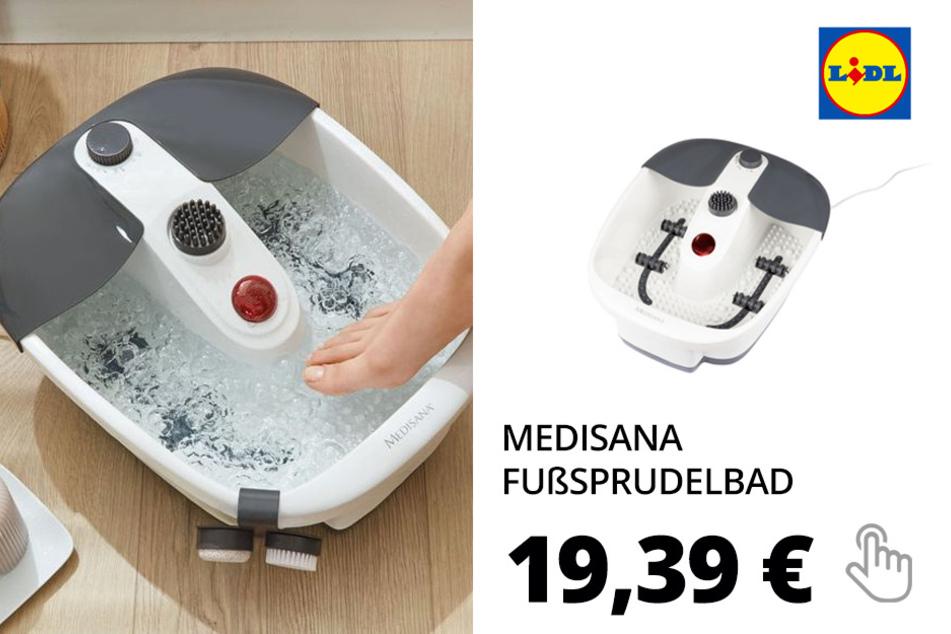 MEDISANA Fußsprudelbad, Trockenmassage-Funktion, Wasser-Warmhaltefunktion, Rotlichtfeld