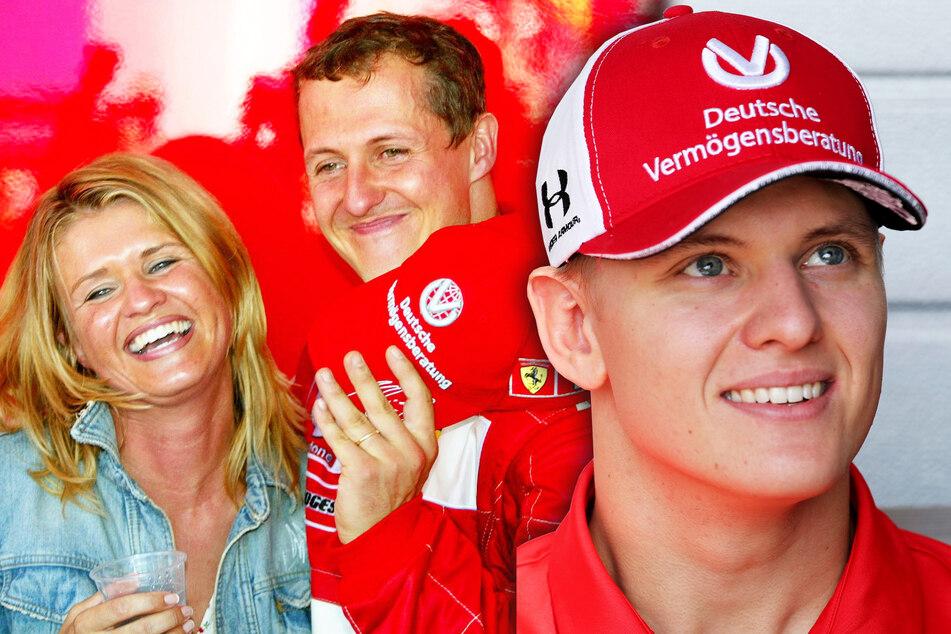 Michael (52) und Corinna Schumacher (52) freuen sich nach einem Rennen. Ihr Sohn Mick (22, r.) tritt in diesem Jahr erstmalig in der Formel 1 an.