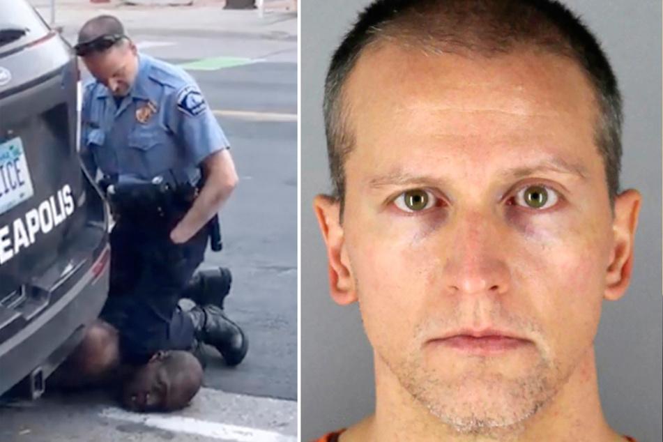 links: In diesem Ausschnitt aus einem Video vom 25. Mai 2020 kniet Derek Chauvin (45) auf dem Hals des unbewaffneten George Floyd. rechts: Der Ex-Polizist Chauvin nach seiner Festnahme.