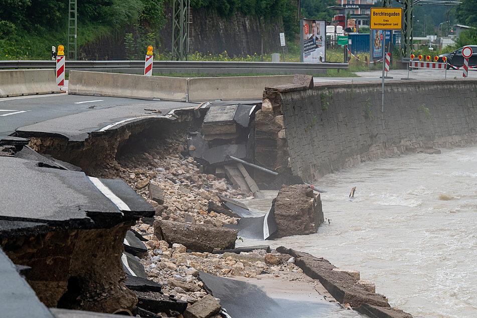 Im Berchtesgadener Land war die Ache über die Ufer getreten und hat große Schäden verursacht.
