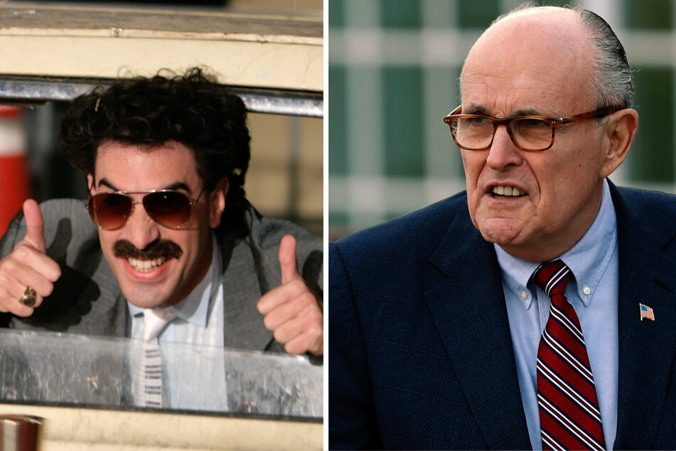Sacha Baron Cohen (l) stops at nothing for a prank Rudy Giuliani (r) (collage).