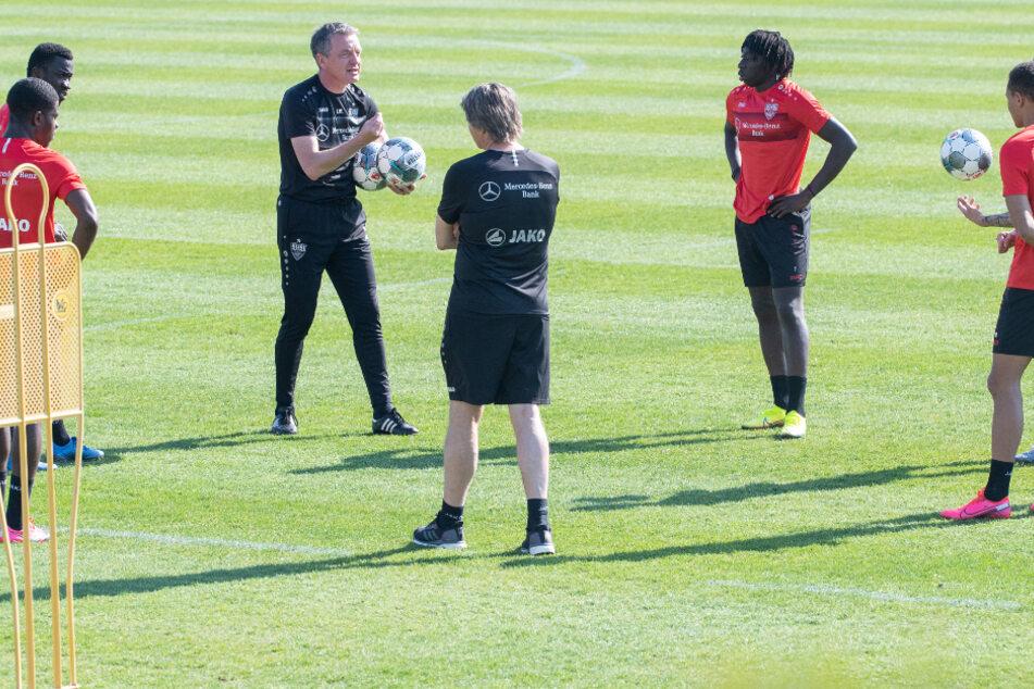 Hier trainierten die VfB-Profis noch in Kleingruppen.