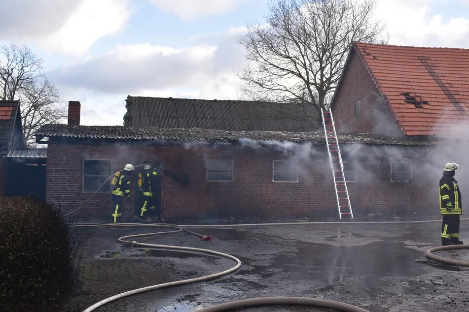 Blick auf das ausgebrannte Wirtschaftsgebäude.