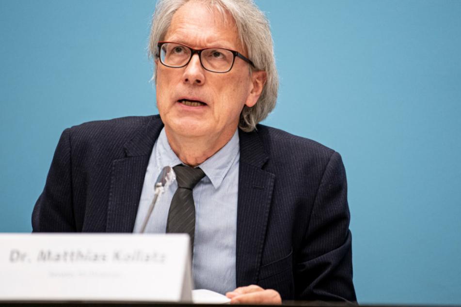 Matthias Kollatz (SPD), Senator für Finanzen, spricht auf der Pressekonferenz nach der Senatssitzung.
