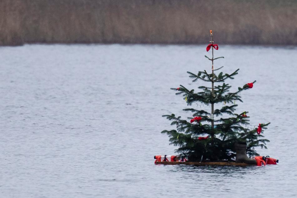 Kanufahrer will Weihnachtsbaum in See aufstellen und geht unter: Vermisst!