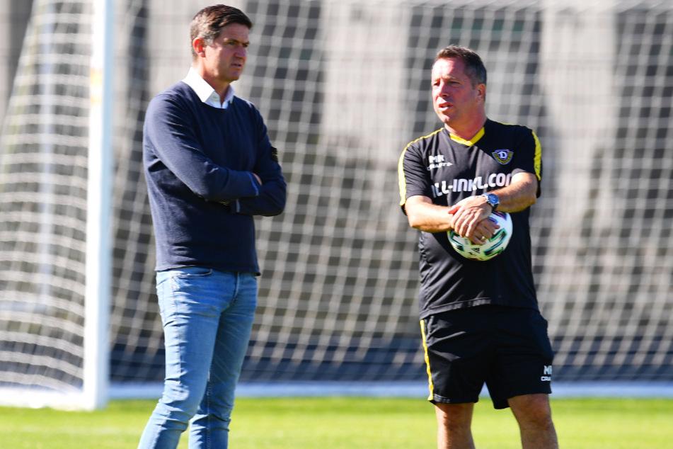 Ralf Becker (l.) mit Cheftrainer Markus Kauczinski.
