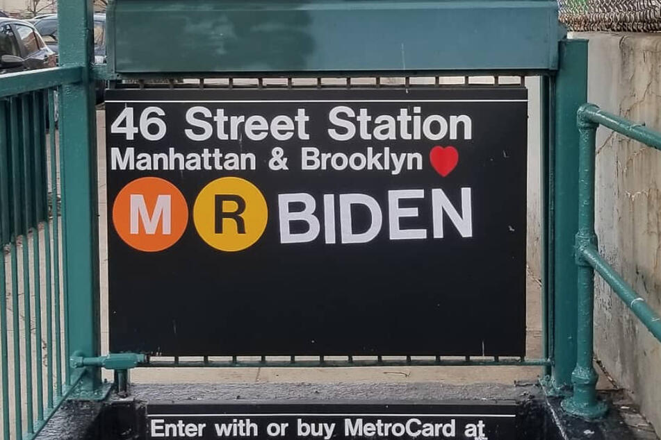 """The NYC artist also changed the station's entrance to """"M R BIDEN."""""""