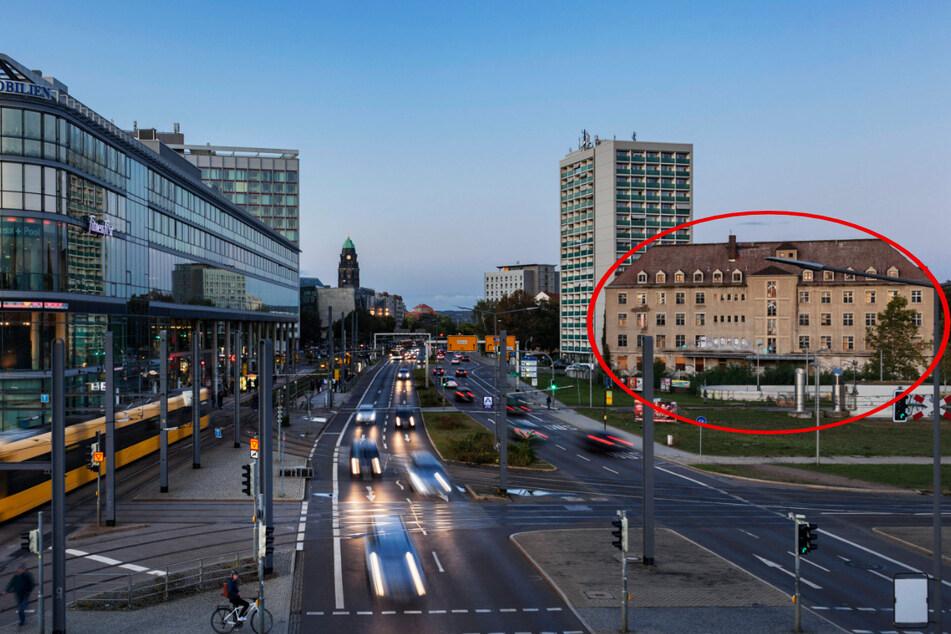 """1936 erbaut: Das """"Siemenshaus"""" (Kreis) am Wiener Platz, wie es die Dresdner seit Jahrzehnten kannten."""