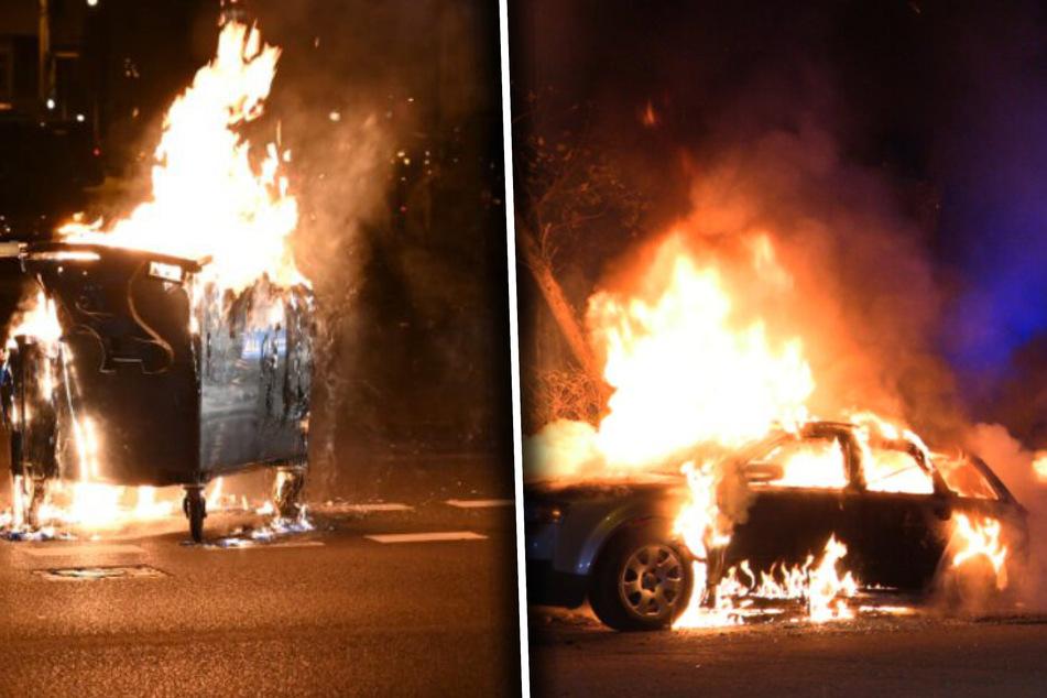 Leipzig: Nach friedlichem Demo-Verbotstag in Leipzig: Autos und Mülltonnen brennen