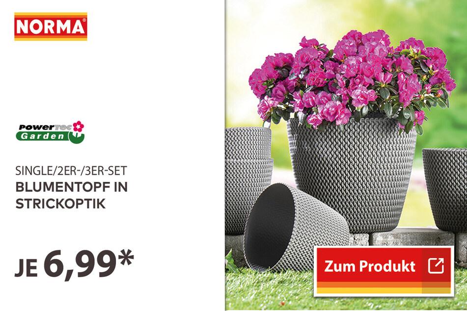 Blumentopf in Strickoptik für 6,99 Euro