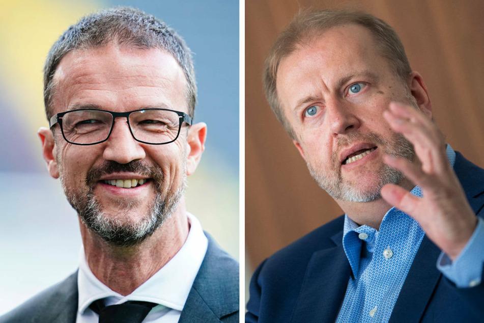 Hertha-Sportchef Fredi Bobic (49, l) und Finanzchef Ingo Schiller sollen die Aufgaben von Carsten Schmidt übernehmen, bis ein neuer Geschäftsführer gefunden ist.