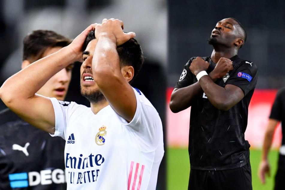 Lange Zeit gab es gegensätzliche Emotionen zu sehen! Während Reals auffälliger Marco Asensio (l.) den Rückstand nicht fassen konnte, freute sich Marcus Thuram über seinen ersten Treffer.
