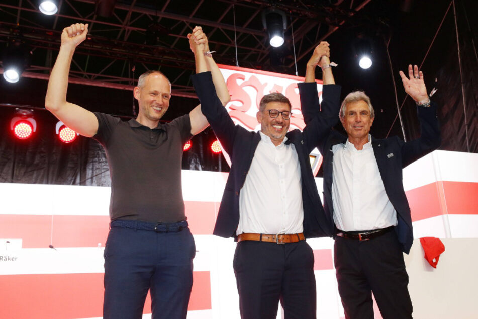 Christian Riethmüller (46), Claus Vogt (51) und Rainer Adrion (67, v.l.n.r.) bilden das neue Vereinspräsidium des VfB Stuttgart.