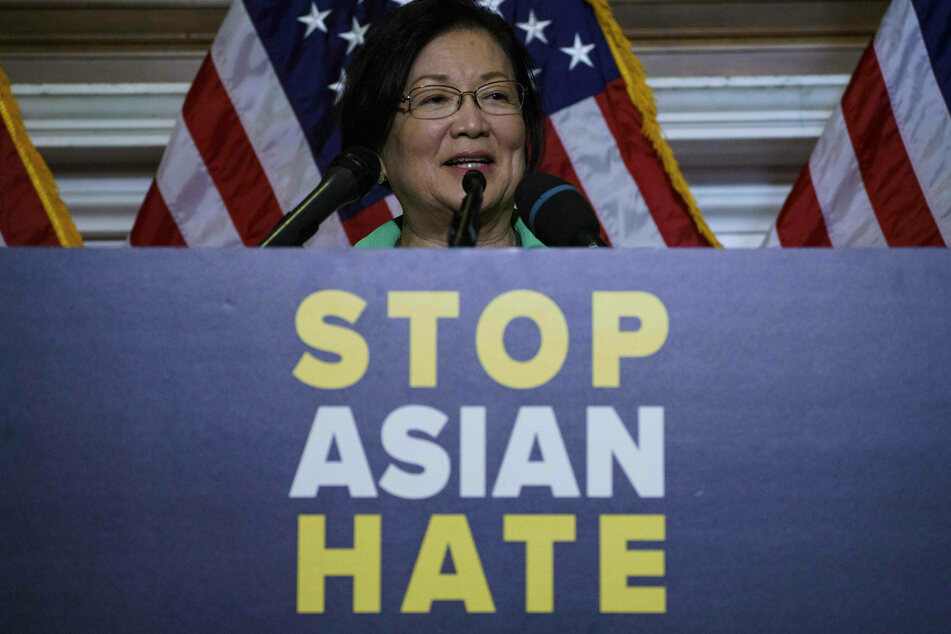Hawaii's Democratic senator Mazie Hirono speaking at a Capitol Hill press conference on Thursday.