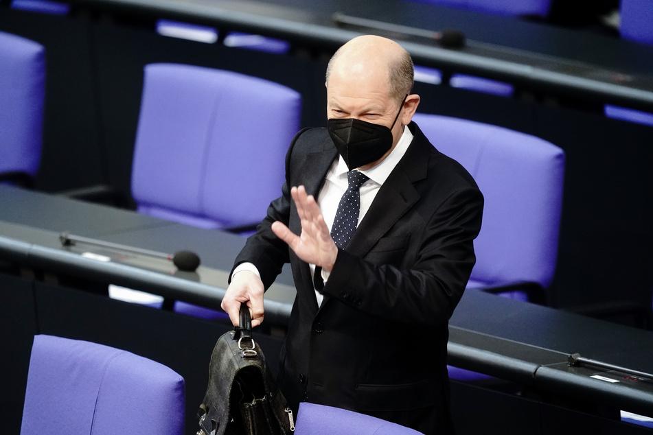 Vizekanzler Olaf Scholz (62, SPD) bei einer Sitzung des Bundestages in Berlin.