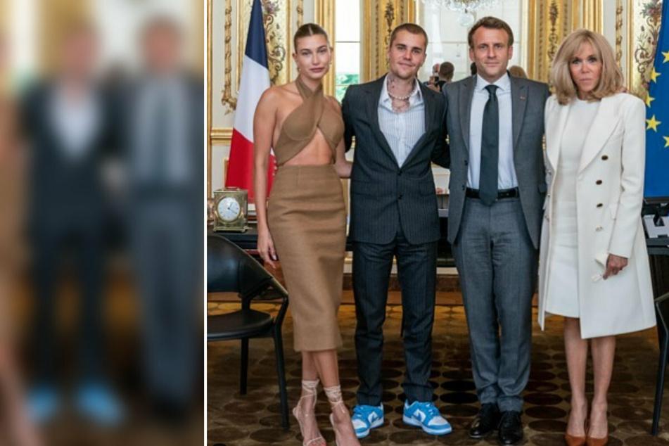 Bauchfrei und in Turnschuhen: Justin und Hailey Bieber besuchen Präsident Macron