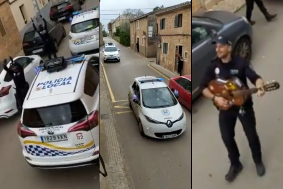 Spanische Polizisten sollen Dorf abriegeln und spielen plötzlich Musik