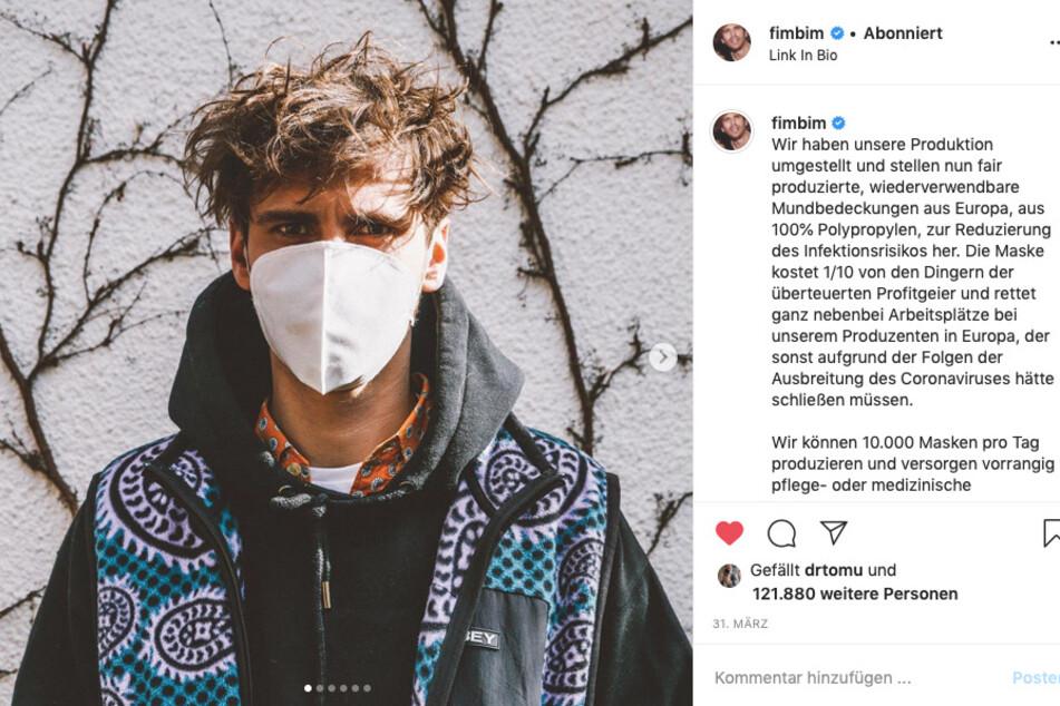 Fynn Kliemann (29) mit Atemschutzmaske aus eigener Produktion auf Instagram.