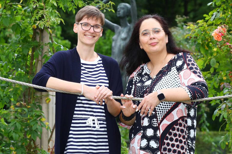 Spenderin Tanja Boutschek (links) und Empfängerin Anja Erth wagten einen Drahtseilakt - mit Erfolg!