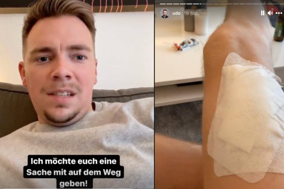Udo Bönstrup (26) wurde ein Melanom am Bein entfernt.