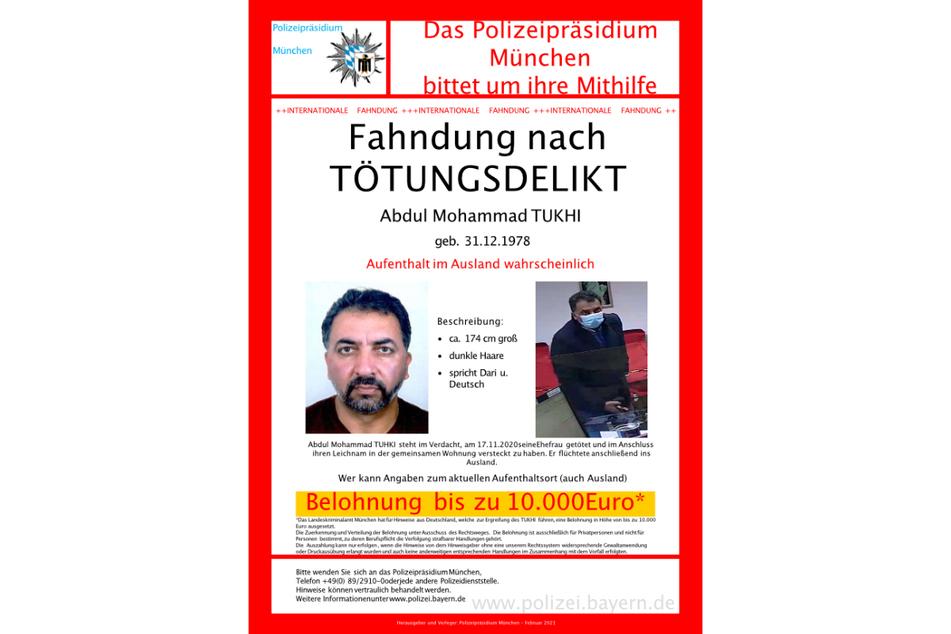 Das Fahndungsplakat des Polizeipräsidiums München.