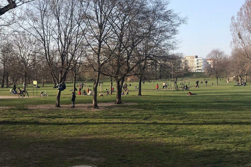 Alaunpark in der Neustadt am Freitag kurz vor 17 Uhr: fröhliches Treiben von Kindern und Erwachsenen, teilweise mit Abstand, viele sind sich aber auch ganz nah.