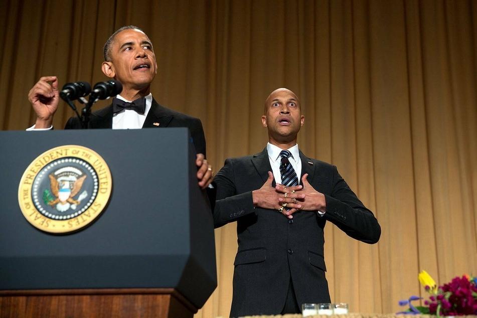"Barack Obama and his ""anger translator"" Keegan-Michael Key at the 2015 White House Correspondents' Dinner."