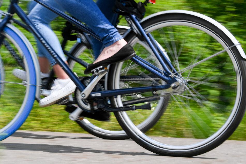Radfahrerinnen sind auf einem Radweg unterwegs.