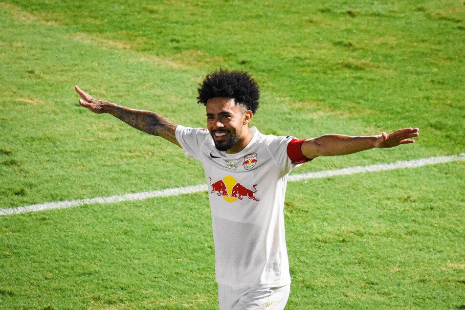 Claudinho (24) bejubelt eines seiner zwei Tore gegen Vasco da Gama im Januar. Red Bull Bragantino gewann das Spiel mit 4:1. (Archivbild)