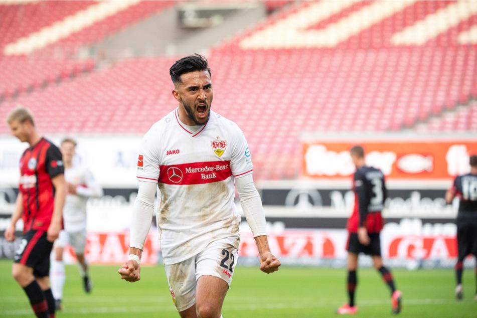 Hier jubelt VfB-Stürmer Nicolas Gonzalez (22) nach seinem Treffer gegen Eintracht Frankfurt.