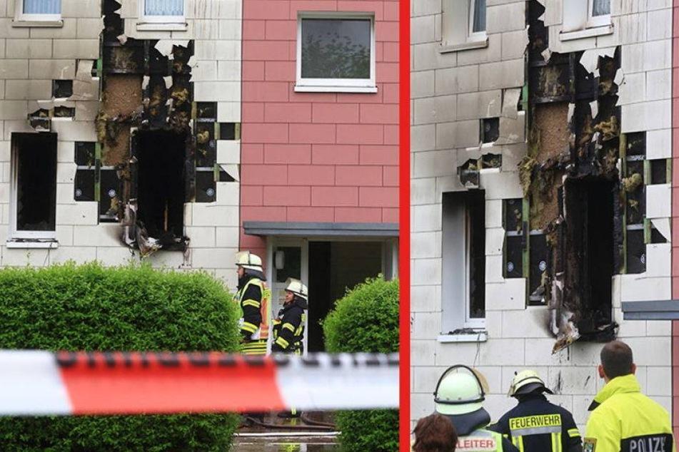 Explosion reißt Loch in Plattenbau