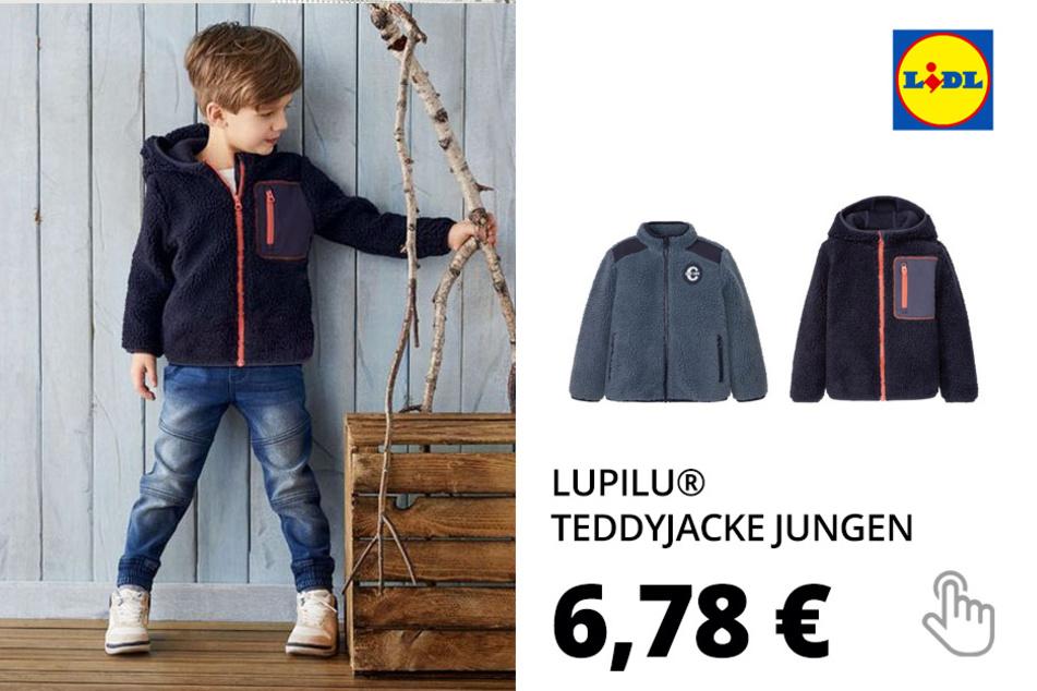 LUPILU® Kleinkinder Teddyjacke Jungen, Reißverschluss mit Kinnschutz(nur online)