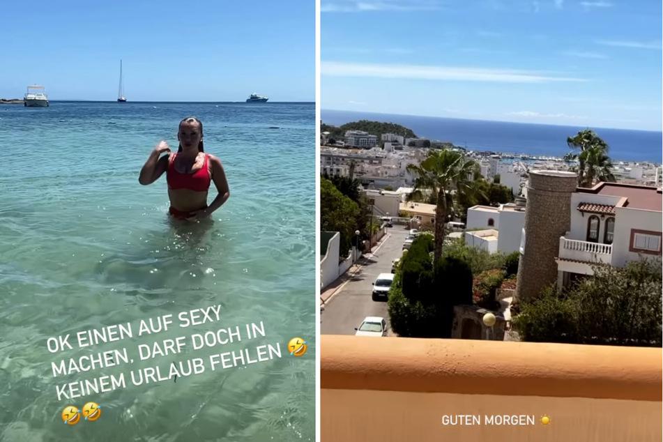 Evelyn Burdecki (32) versucht sich im eleganten(?) Wassertauchen. (Fotomontage)