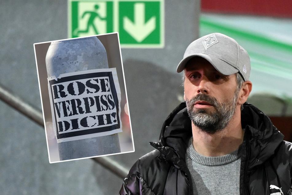 """""""Rose verpiss dich!"""" - Zum Ende seiner Amtszeit in Mönchengladbach musste Marco Rose (45) mitansehen, wie mehrere Hass-Botschaften gegen ihn rund ums Stadion verteilt wurden."""