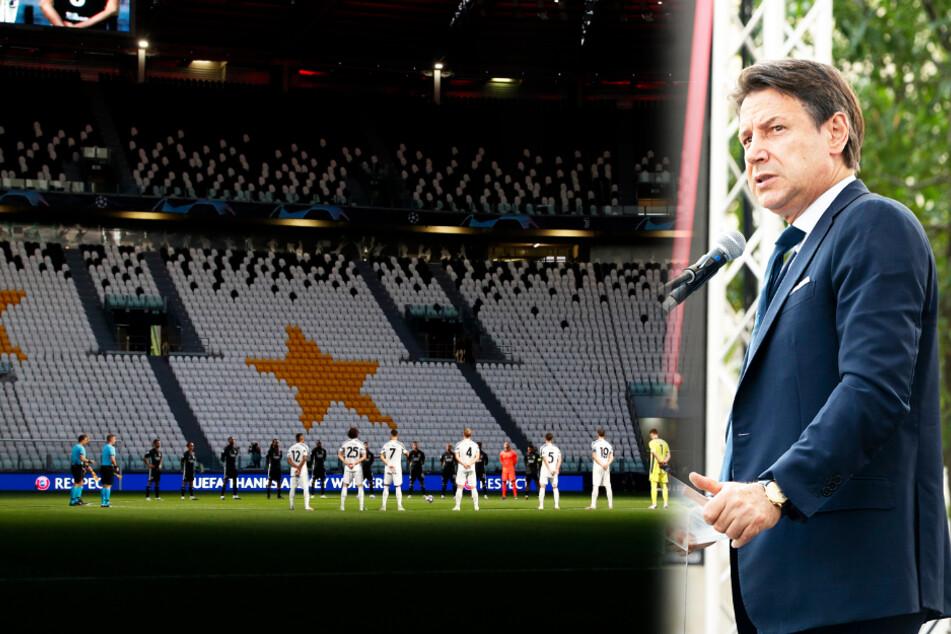 Ministerpräsident Giuseppe Conte (56) ist gegen Zuschauer in Italien Fußballstadien. (Bildmontage)
