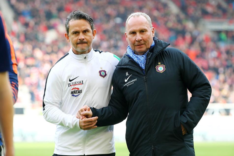 Dirk Schuster (53, l.) und Präsident Helge Leonhardt (62) im Februar 2020. Am 28. Mai 2021 trennte man sich.
