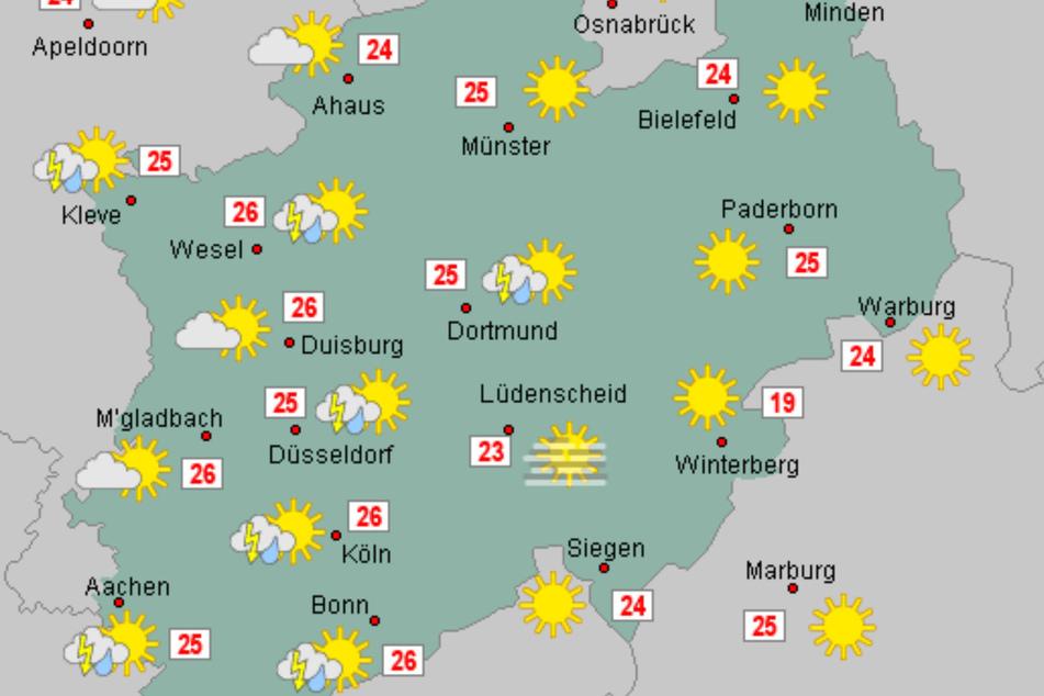 Am Dienstagabend soll ein Regengebiet NRW erreichen und punktuell für Starkregen, Hagel und stürmische Böen sorgen.